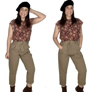 High Waisted Soft Ankle Belted Khaki Pants